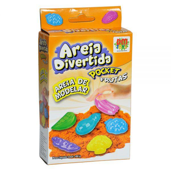 Areia De Modelar Cinética Pocket 150g Divertida Mágica Frutas Dm Toys
