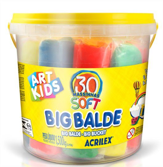 Massinha de Modelar Big Balde Soft 30 Unidades Acrilex