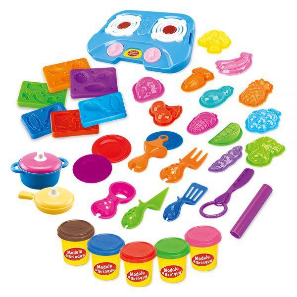 Massinha de Modelar Cozinha Feliz com acessórios Modele e Brinque DM Toys