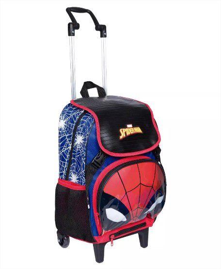 Mochila Com Rodinha Homem Aranha Spider Man Capa e Luz Original Sestini