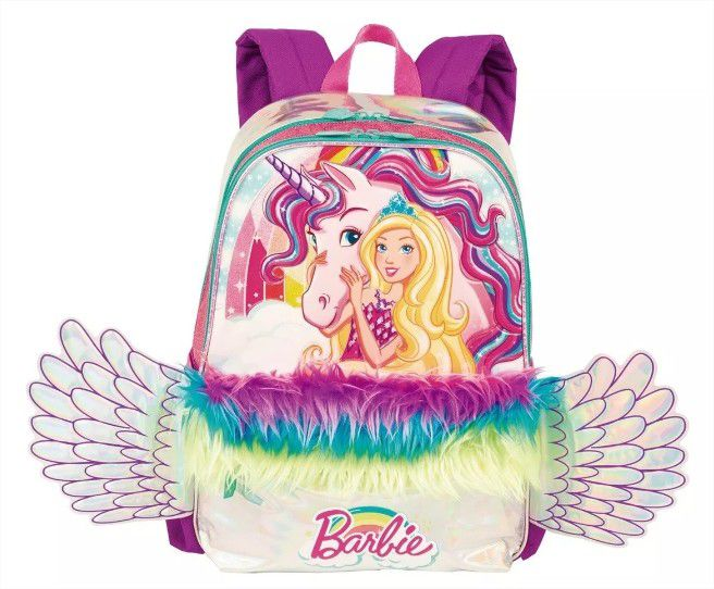 Mochila De Costas Barbie Dreamtopia Unicórnio Asas Sestini
