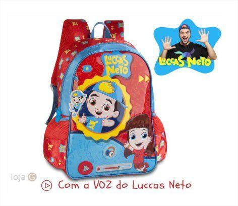 Mochila de Costas Escolar + Boneco Luccas Neto Oficial Youtuber