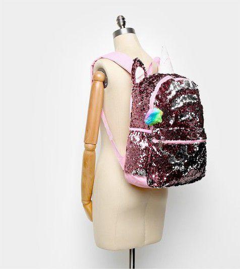 Mochila escolar Unicórnio Paetê Que Muda De Cor Rosa e Prata Clio