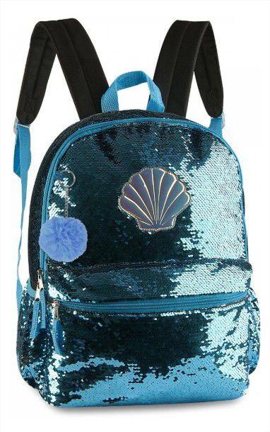 Mochila Juvenil Concha Paetê Que Muda De Cor Prata e Azul Clio