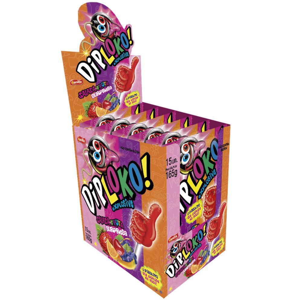 Pirulito com Pó Explode na boca Dip Loko 1 caixa com 15 unidades Danilla
