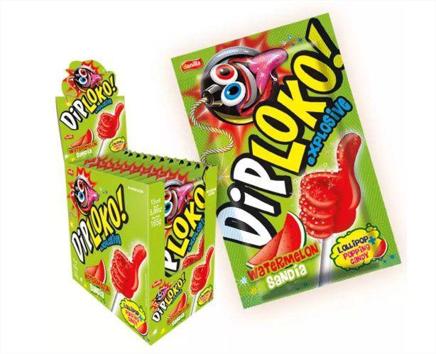 Pirulito com Pó Explode na boca Dip Loko 3 caixas Danilla Atacado
