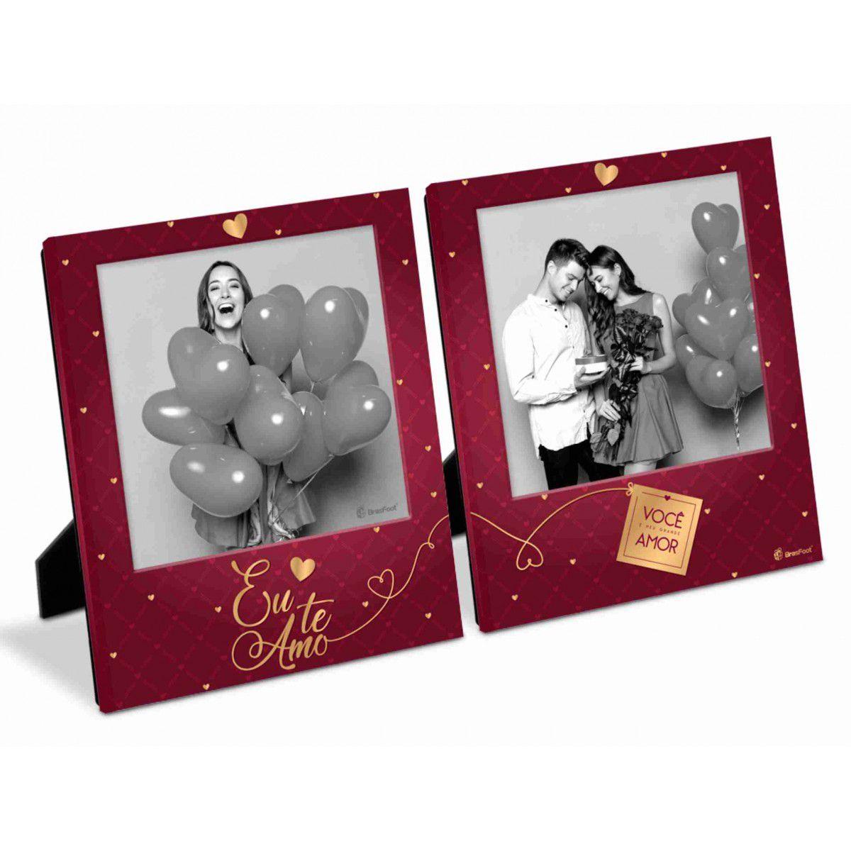 Porta Retrato Duplo 10x10cm - Você é o Meu Grande Amor Presente Namorados Brasfoot