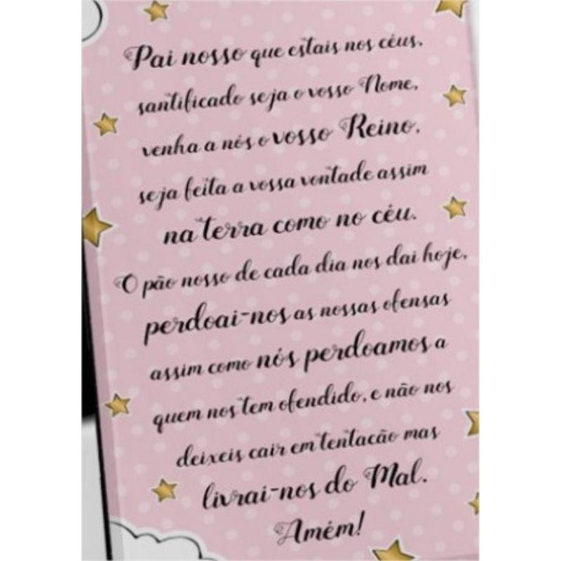 Porta Retrato Foto 10x15cm - Bebe Rosa Oração Pai Nosso Brasfoot