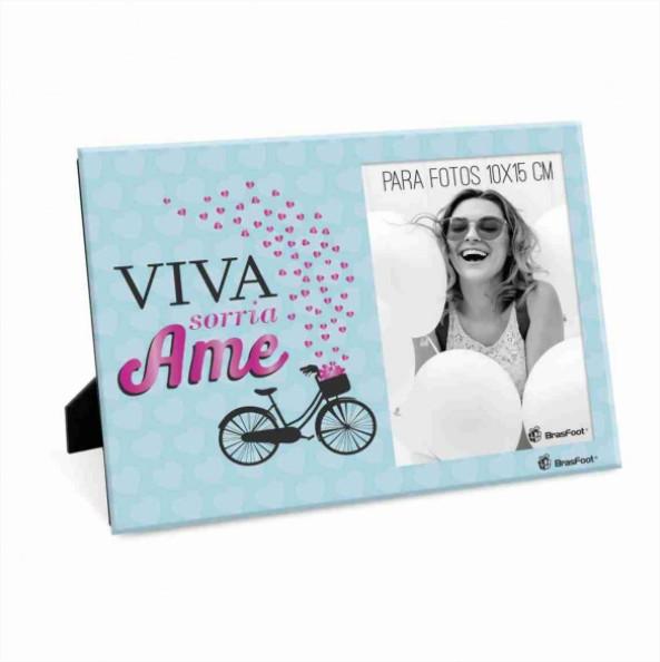 Porta Retrato Foto 10x15cm - Viva Ame e Sorria Presente Brasfoot