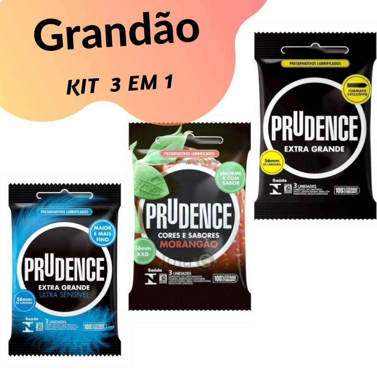 Preservativos Extra Grande XXG Camisinha Prudence kit com 3 pacotes