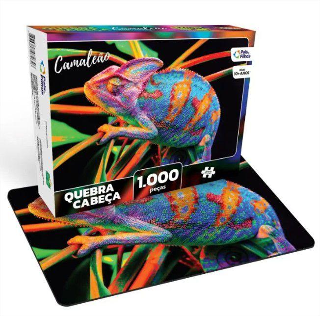 Quebra Cabeça Cartonado Camaleão 1000 Peças Jogos Pais e Filhos