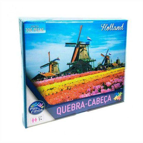 Quebra Cabeça Cartonado Holanda Moinhos e Tulipa 300 Peças Jogos Pais e Filhos