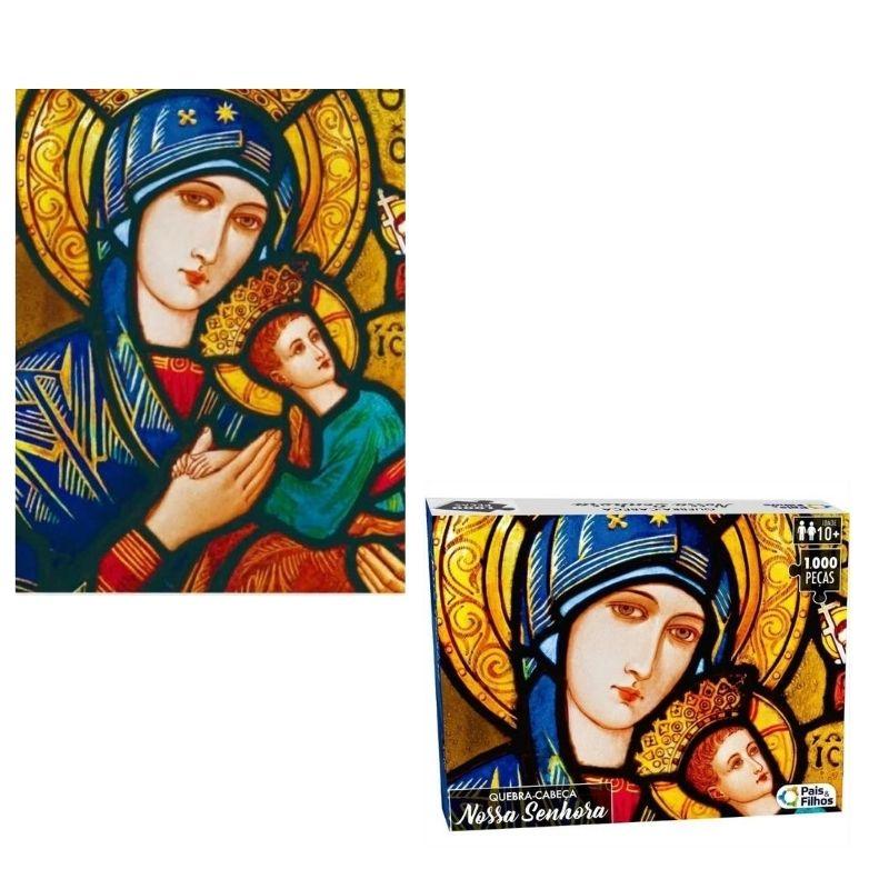 Quebra Cabeça Cartonado Nossa Senhora 1000 Peças Jogos Pais e Filhos