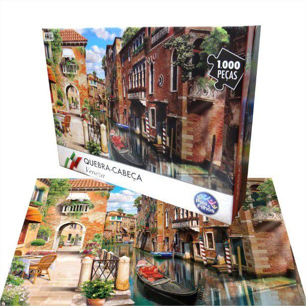 Quebra Cabeça Cartonado Veneza Itália 1000 Peças Jogos Pais e Filhos
