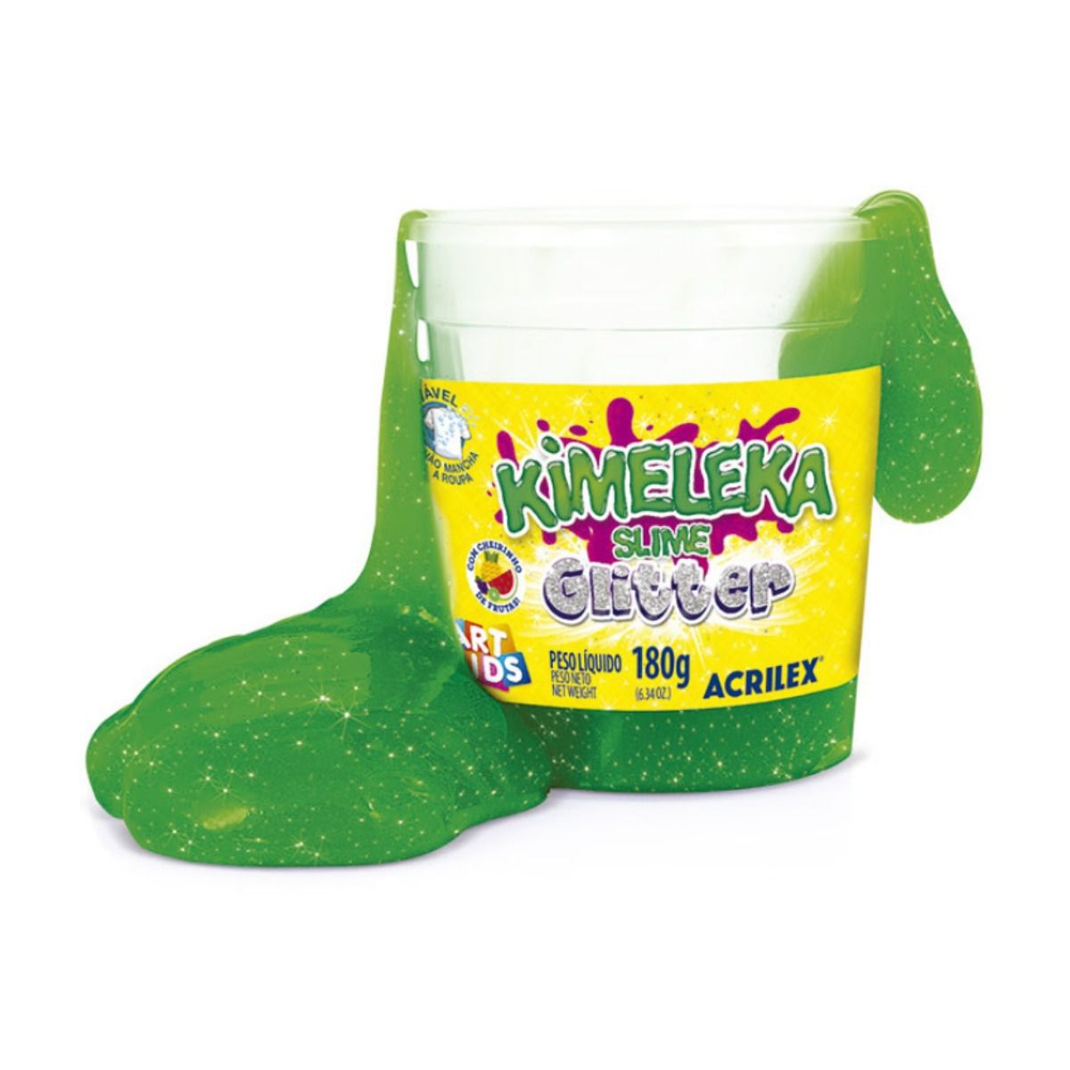 Slime Glitter Caixa com 12 unidades 180g Kimeleka Acrilex