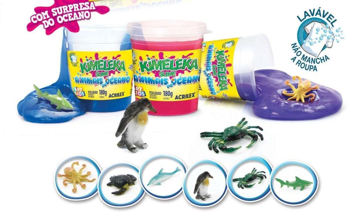 Slime Animais do Oceano Caixa com 6 unidades 180g Kimeleka Acrilex