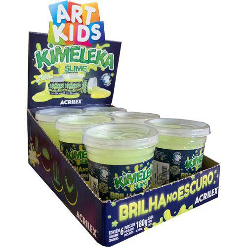 Slime Neon Brilha no Escuro Caixa com 6 unidades 180g Kimeleka Acrilex