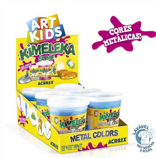 Slime Metálica Caixa com 6 unidades 180g Kimeleka Acrilex