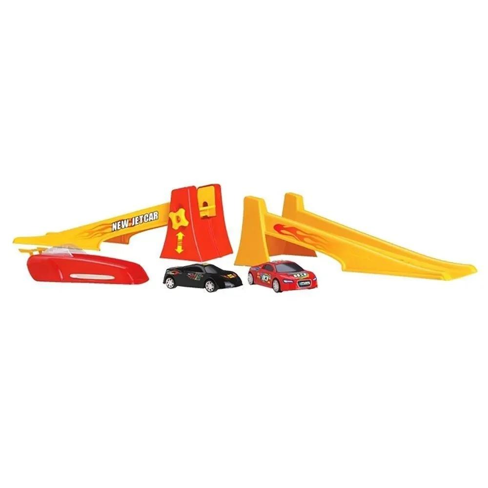 Super Rampa De Lançamento New Jetcar com 2 Carrinhos Roma Brinquedos
