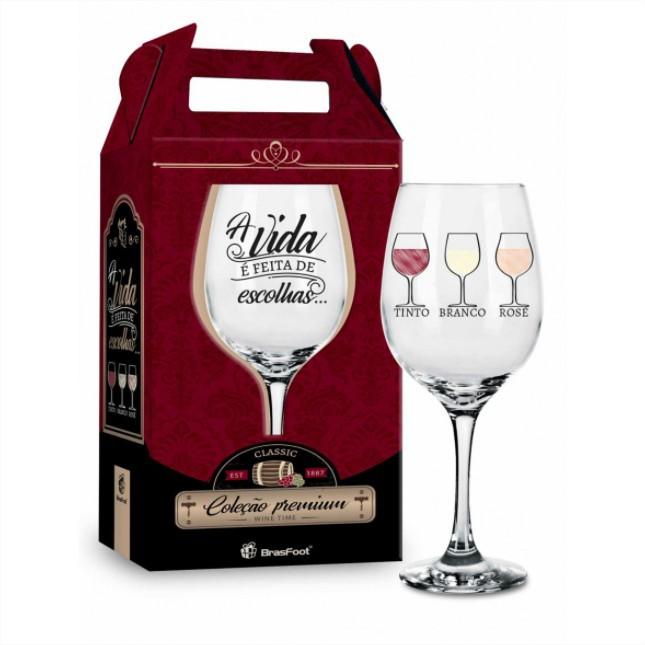 Taça de Vinho na Caixa A Vida é Feita de Escolhas Presente Brasfoot