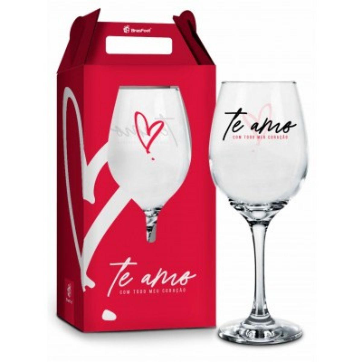 Taça de Vinho na Caixa Te Amo com Todo Meu Coração Presente Brasfoot