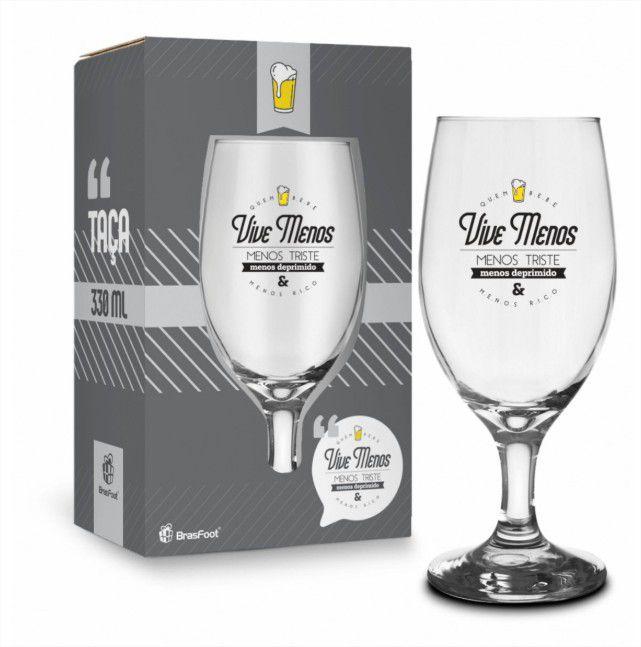 Taça Windsor 330ml - Quem Bebe Vive Menos Presente Brasfoot