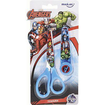 Tesoura Escolar Avengers Vingadores c/ Protetor Sortida Molin do Brasil