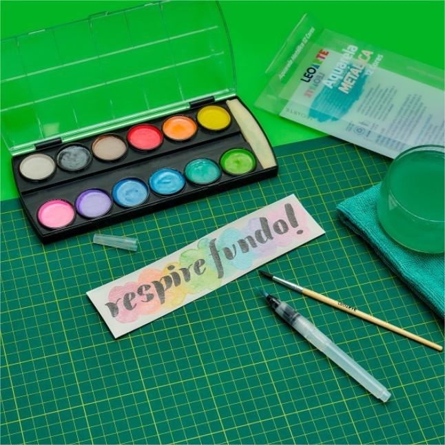 Tinta Aquarela Metalica + Pincel Water brush Lettering Caixa 6 Estojos Leo Arte Atacado