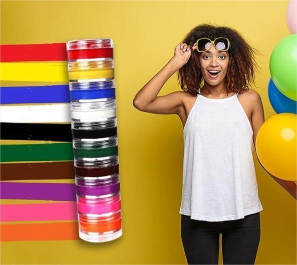 Tinta para Pintura Facial Cremosa Kit com 10 cores Colormake