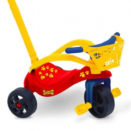 Triciclo Velotrol Cachorrinho com Empurrador/Proteção/Cestinha Xalingo