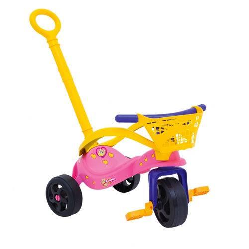 Triciclo Velotrol Fofinha com Empurrador/Proteção/Cestinha Xalingo