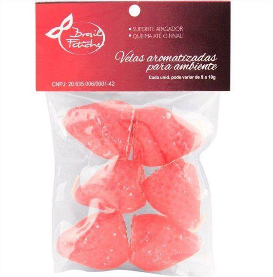Vela Perfumada Flutuante Formato de Morango 6 unidades Brasil Fet