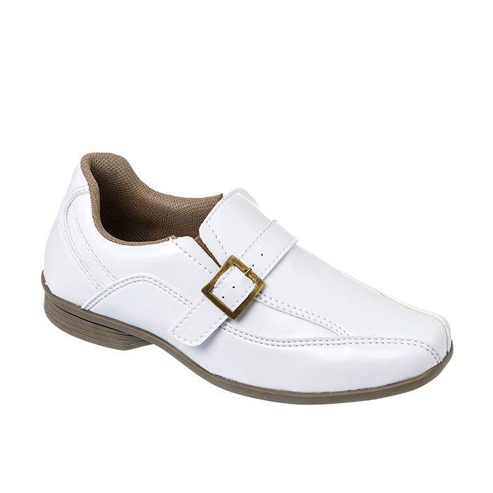 5dcbd401c8 Sapato Social Juvenil Masculino Branco + Cinto