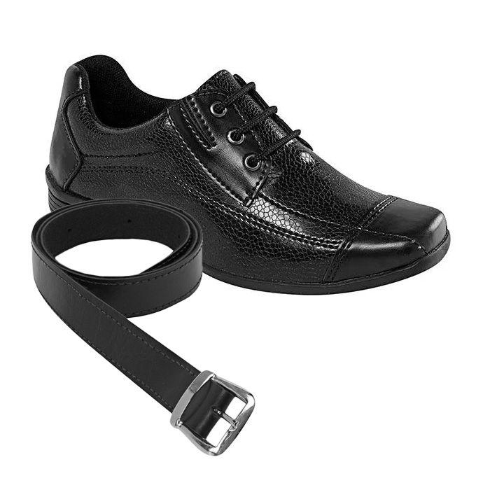 Sapato Social Juvenil Masculino Preto / Chumbo + Cinto | Classic