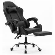 Cadeira Gamer Giratória Com Apoio de Pé Kelter Preta V7001p