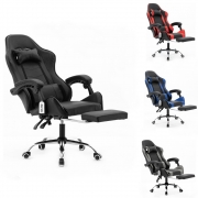 Cadeira gamer com apoio aos pés reclinável em 120º