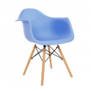 Kit 3 Cadeiras DKR DAW Eames Com Braços Eiffel Wood Kelter Azul KC233