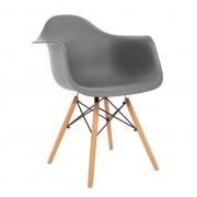 Kit 3 Cadeiras DKR DAW Eames Com Braços Eiffel Wood Kelter Cinza Escuro K-C238