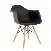 Kit 4 Cadeiras DKR DAW Eames Com Braços Eiffel Wood Kelter Preta K-C232