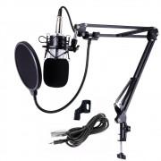 Kit Microfone Estúdio Bm800 Branco Condensador Suporte Articulado Pedestal Kelter