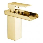 Torneira Cascata Calha Banheiro Monocomando Baixa Kelter KT22 Dourada