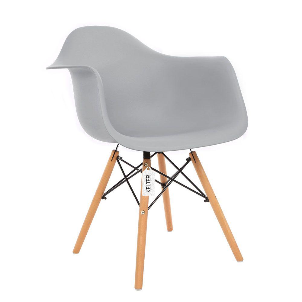 Cadeira daw eames com braços kelter  KC237 cinza claro