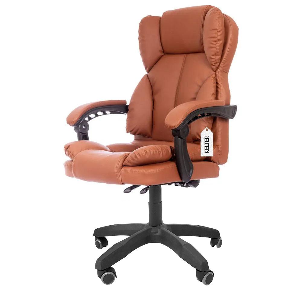 Cadeira Presidente Reclinável Para Escritório Kelter F01 Marrom