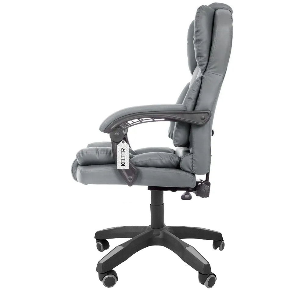Cadeira Escritório Presidente Reclinável Kelter F02 Cinza