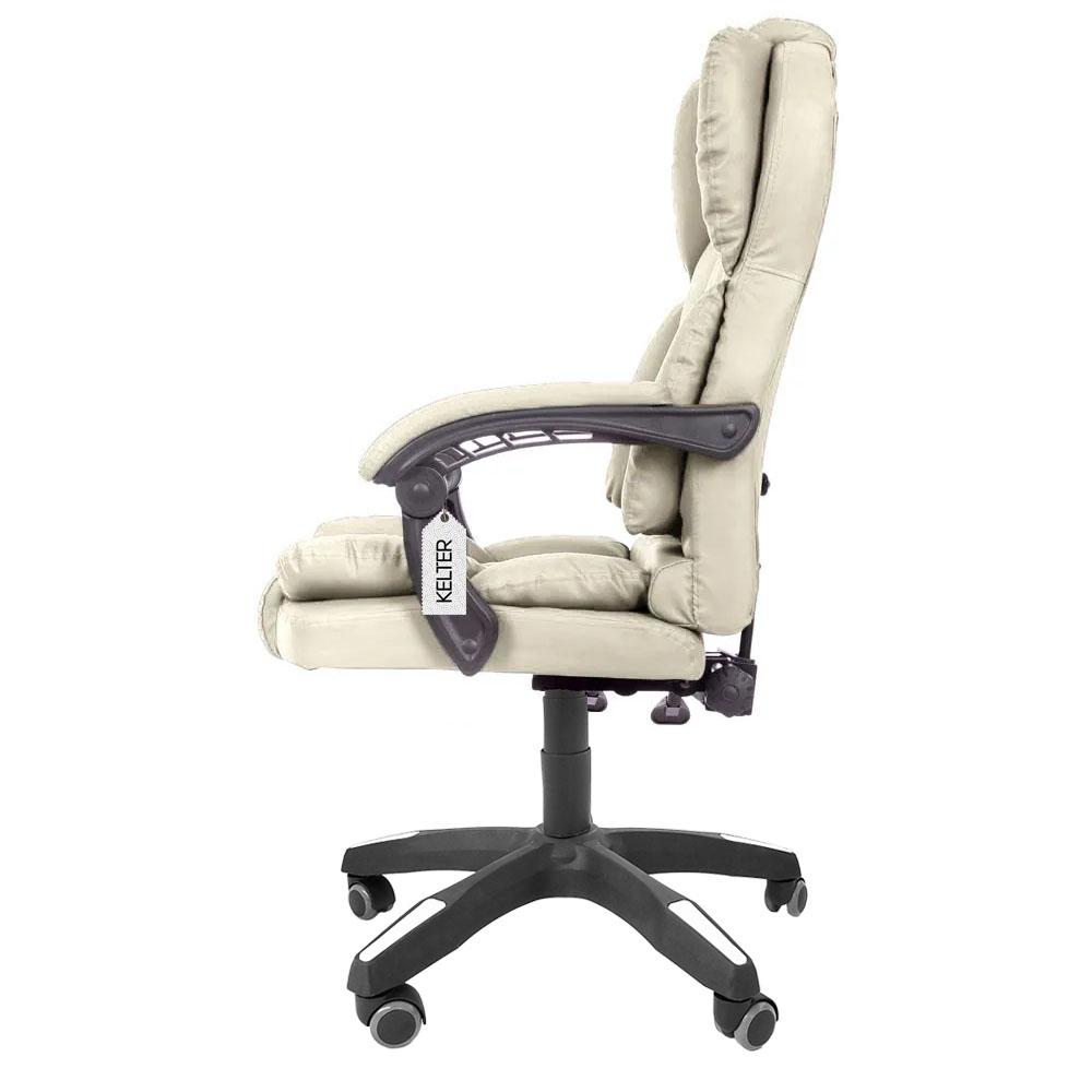 Cadeira Para Escritório Presidente Reclinável Kelter F03 Bege