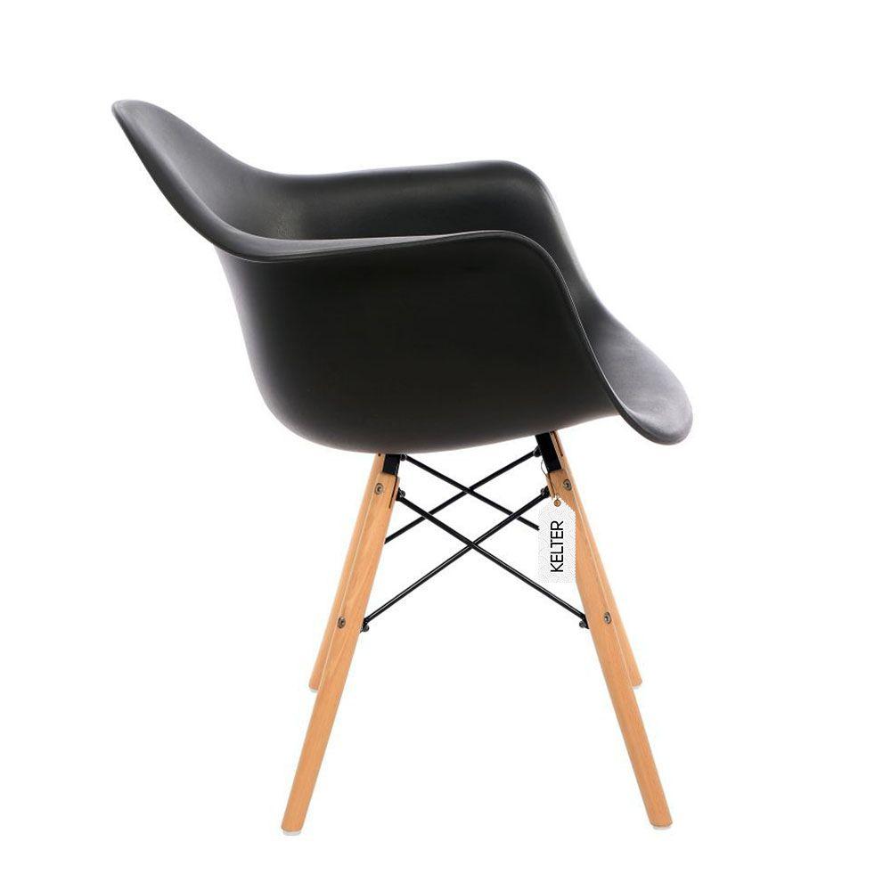 Cadeira Eames Com Braços DAW Kelter KC232 Preta