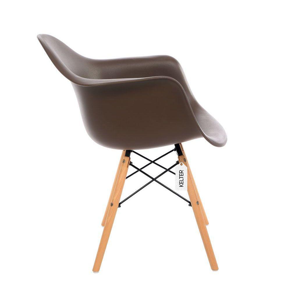 Cadeira Eames DAW Com Braços Kelter KC234 Marrom