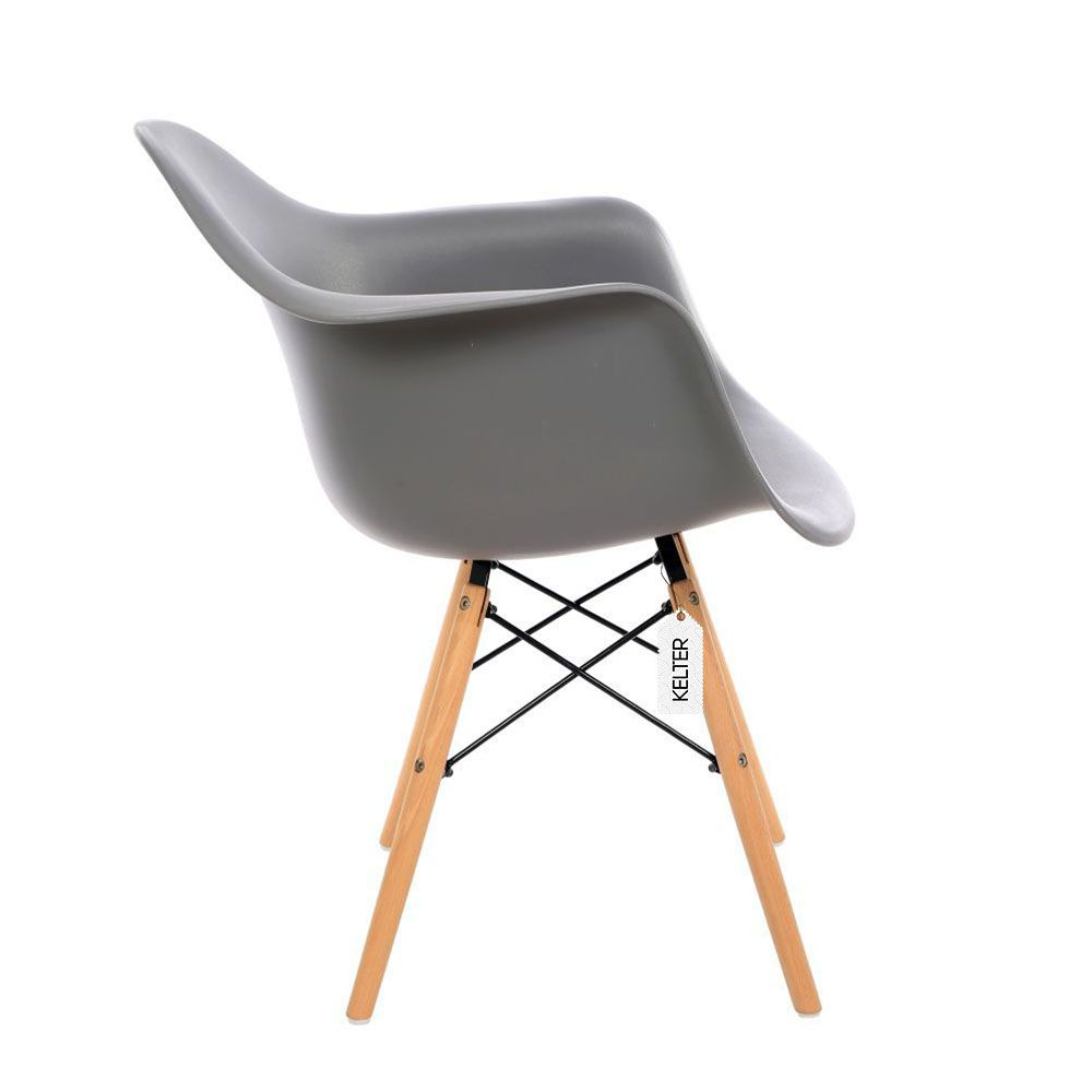 Cadeira Eames DAW Com Braços Kelter KC238 Cinza Escuro