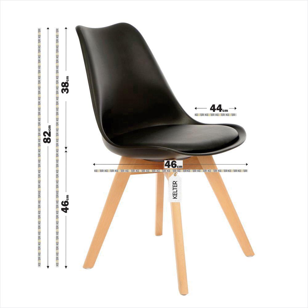 Cadeira Eames Leda Estofada Kelter KC252 Preta
