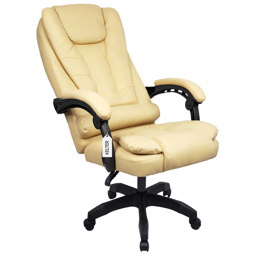 Cadeira Escritório Presidente Com Massageador e Aquecimento Kelter Bege V402